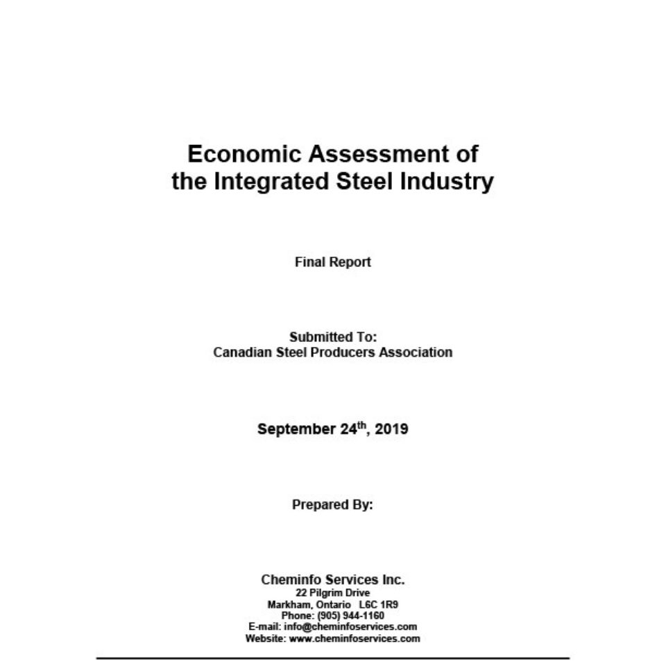 Economic Assessment of the Integrated Steel Industry—Final report